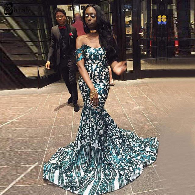 91259a9b539 Long Elegant Prom Dresses 2019 Mermaid Sweetheart Cap Sleeve Emerald Green  Sequin White African Prom Dress