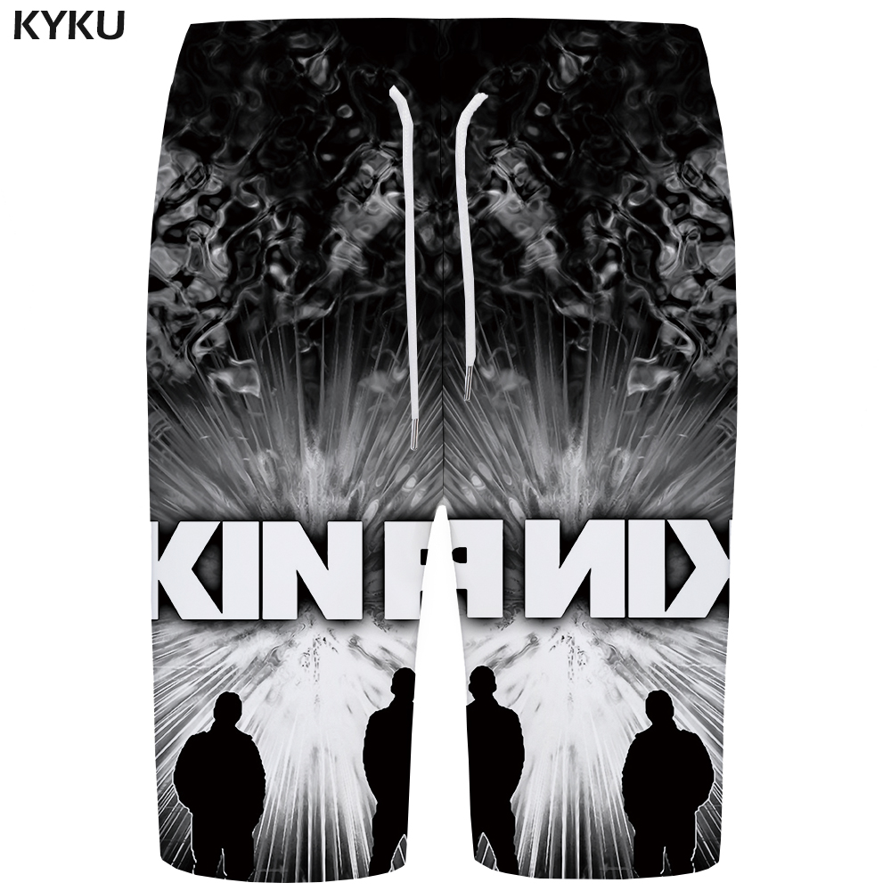 KYKU Linkin Park   Board     Shorts   Men Black Space Boardshorts Phantom 3d   Short   Pants Printed Punk Rock Mens   Shorts   Quick Silver New