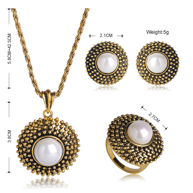 Mardrry Bohemia Imitation Pearls Round Shape Jewelry Sets Pendant Necklace Earrings Ring Set For Women Party Wedding Schmuck 1
