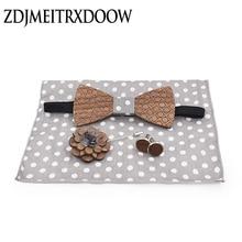New 2018 Handmade wooden Bow Tie Handerchief Set Dot Wood bow tie cufflinks wedding brooch accessories corbata Gravata set