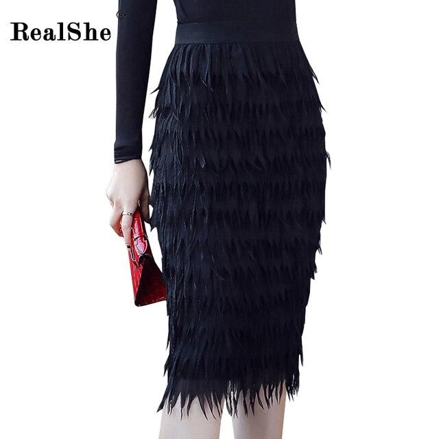 RealShe 2018 Autumn Feather Pencil Skirt Women High Waist Knee Length Slim Skirts  Women Plus Size b24c774f5813