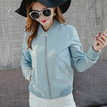 2016 New Women Autumn Winter Blue Faux Leather Jacket Lady Short Slim Motorcycle Biker Soft Pu Black Grey Coat Hot Sale S - XL