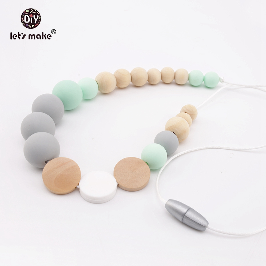 Lets Make Baby Teething Fashion Necklace Silicone Beads Wooden Beads DIY Jewelry Handmade Nursing Accessories Necklace