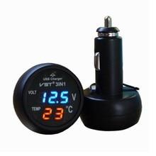 3 in 1 Digital LED Voltmeter Thermometer Auto Car USB Charger 12V/24V Temperature Meter Voltmeter Cigarette Lighter