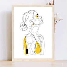 Abstract Line Prints Drawn Female Portrait Poster Yellow Fashion Sketch Canvas Painting Minimalist Woman Art Decor Wall Picture(China)