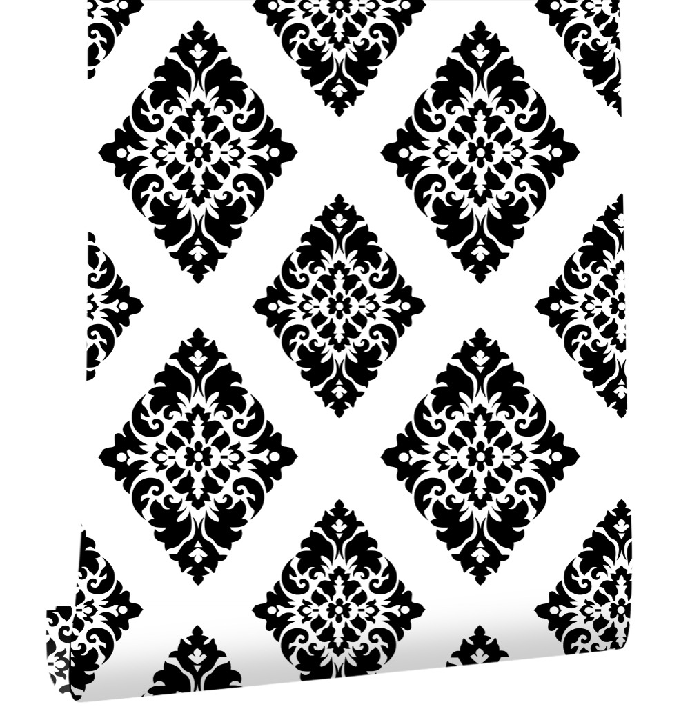 Us 26 9 Haokhome Vintage Fl Damask Wallpaper Self Adhesive Diamond Black White L And Stick Contact Paper Living Room Home Decor In Wallpapers