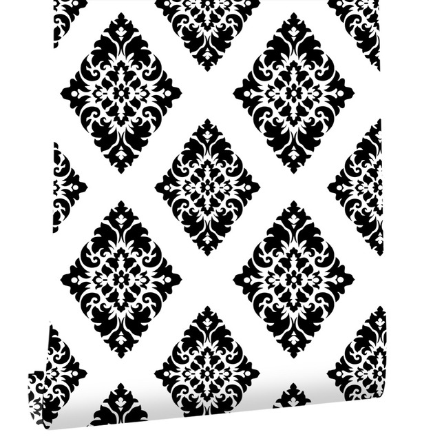 HaokHome Vintage Floral Damask Wallpaper Self Adhesive Diamond Black White Peel And Stick Contact Paper Living