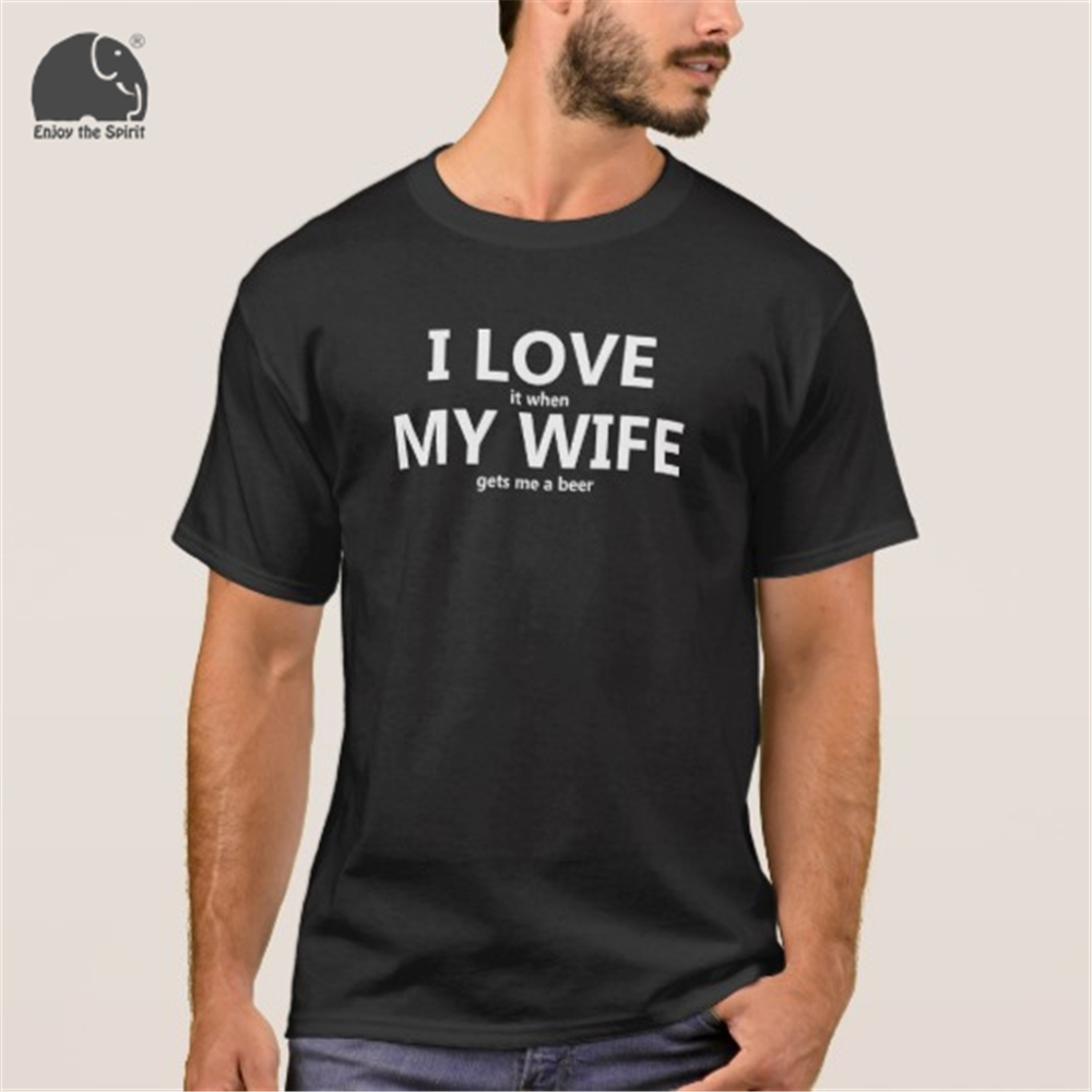 EnjoytheSpirit 2018 Summer T-shirt I Love My Wife FUNNY Beer Humor Shirt Men's Cotton Short Sleeve T Shirt Black Grey Red Color