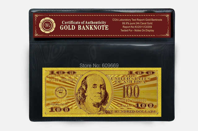 100 Dollars Gold 999 Us Banknote Bill With Certificate In Pvc Frame Mixed Purchase Acceptable