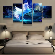 5 Piece Canvas Art Fantasy 3D Unicorn Cuadros Decoracion Paintings on Wall for Home Decorations Decor Artwork
