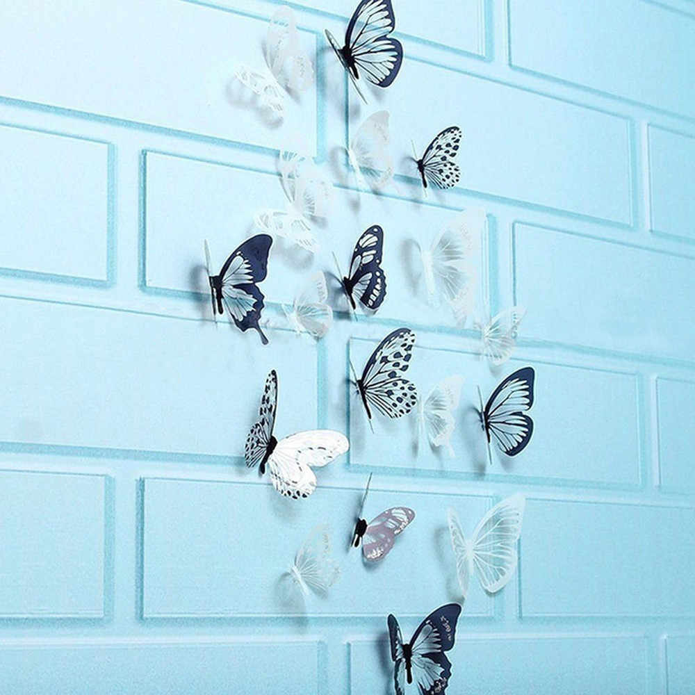 36 Pcs 3D Hitam Putih Kupu-kupu Sticker Wall Art Mural Decal Dekorasi Rumah