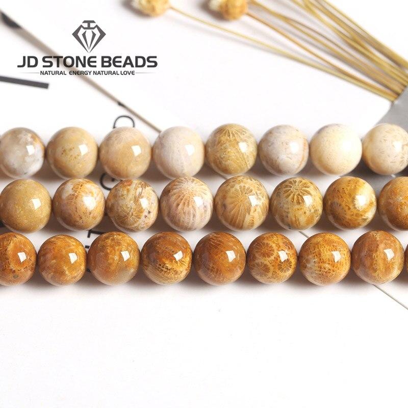 4 6 8 10 12mm Natürliche Korallen F0ssil Stein Perlen Chrysantheme Lose Edelstein Perlen Für Schmuck Machen Armband Halskette Zubehör Gut Verkaufen Auf Der Ganzen Welt