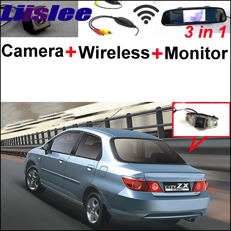 3 in1 Special Rear View Reversing Camera + Wireless Receiver For Honda City Civic Mirror Monitor Easy DIY Backup Parking System