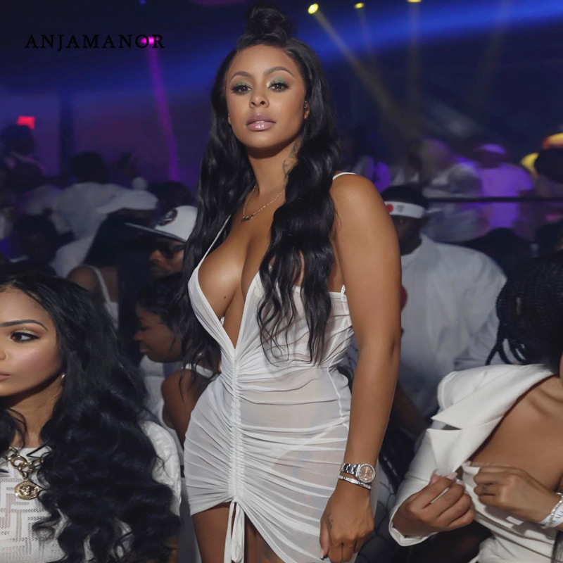 ANJAMANOR See Through Mesh Hot and <font><b>Sexy</b></font> White Bodycon <font><b>Dress</b></font> <font><b>Club</b></font> <font><b>Wear</b></font> Neon Drawstring Ruched Backless <font><b>Mini</b></font> <font><b>Dresses</b></font> D70-H23 image