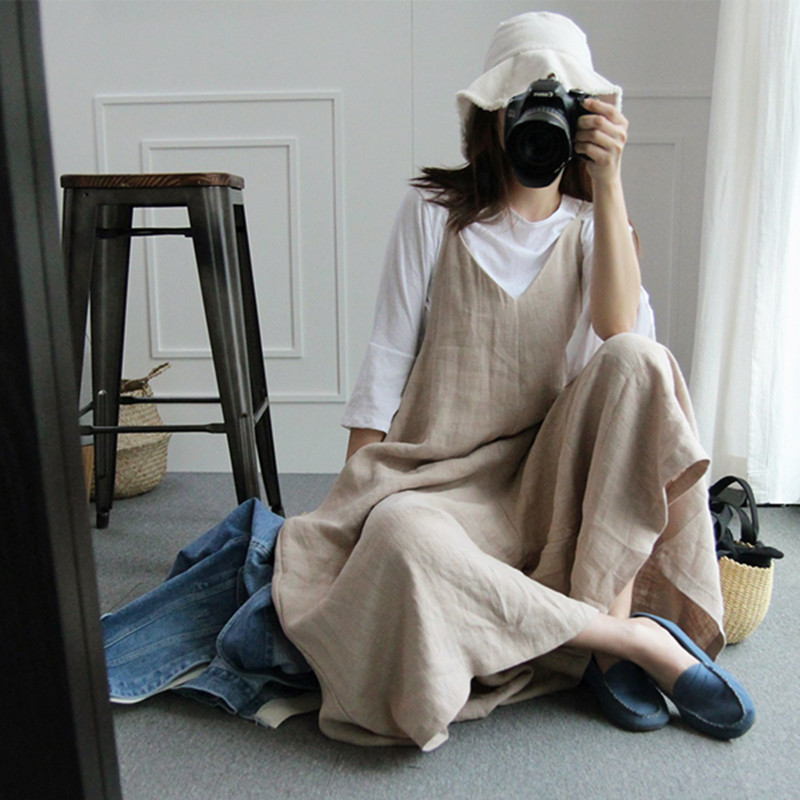 Supply 2019 Summer Preppy Style Lady Rompers Cotton Linen Women Vintage Jumpsuits Mori V-neck Vintage Overalls Playsuits Long Pants Df8 By Scientific Process Women's Clothing