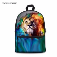 TWOHEARTSGIRL 2017 New Fashion Women's Schoolbags Cool Print Lion Canvas Bookbags for Teenage Girls High Kids School Bag Mochila