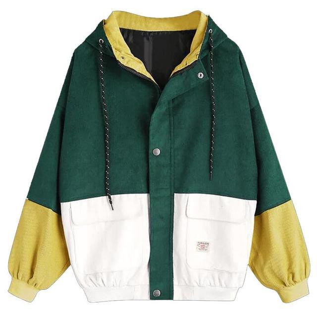 2018 Autumn Winter Coat color block Long Sleeve Corduroy Women jacket Patchwork Jacket  jeans jacket women plus size women coat 2