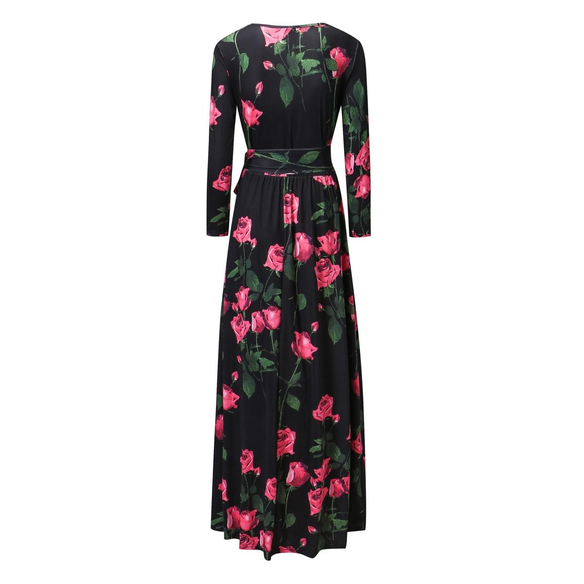 2017 Neue Frühling Frauen Lange Kleid Print Digital Rose Kleider Design Und Farbe 87048 Ruf Zuerst