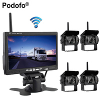 Podofo 7 Wireless Car Monitor Backup Camera System Rearview Screen 4 Rear View Cameras IR Night Vision Waterproof For Bus Truck