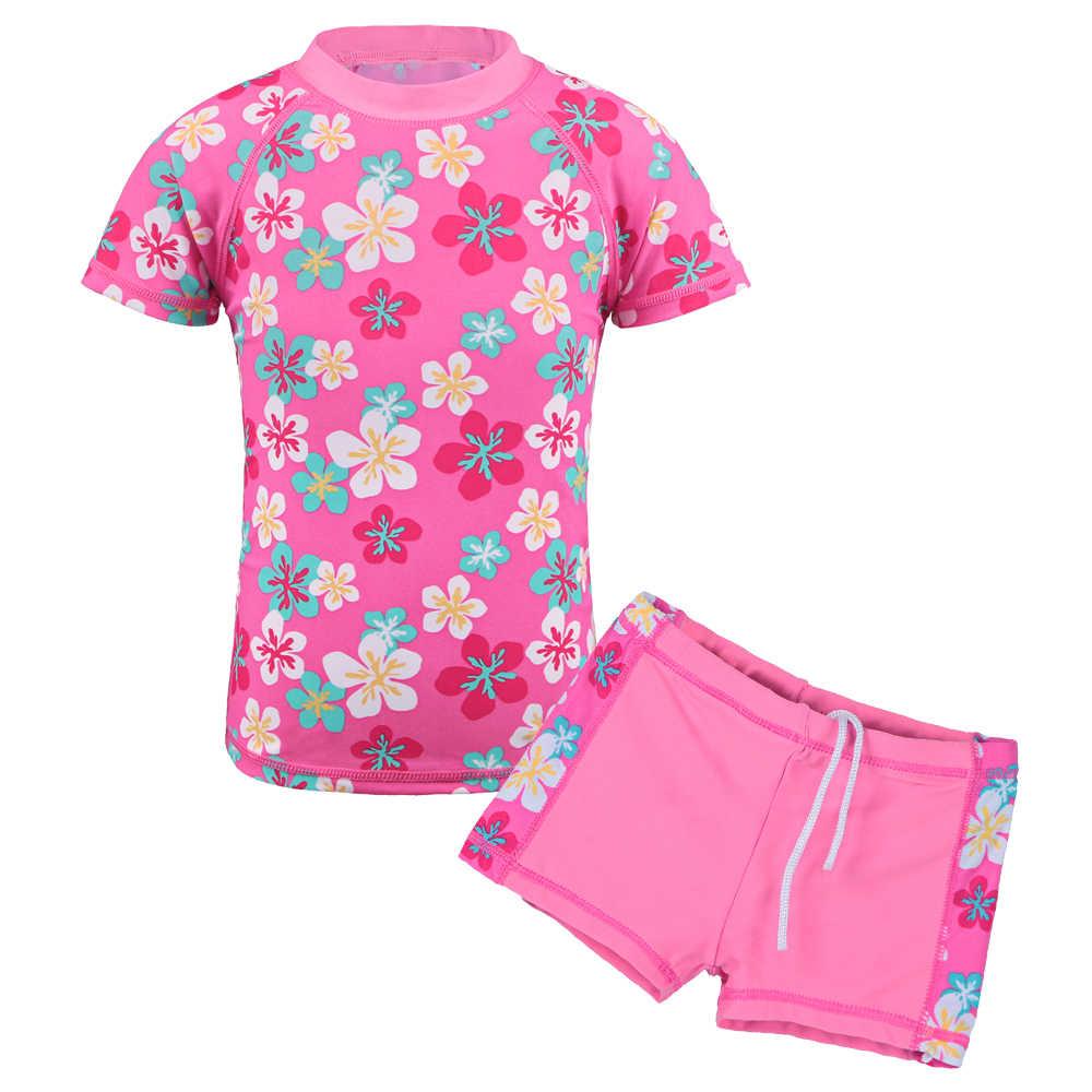 7310ddb6aa2d2 BAOHULU Summer Sunscreen Girls Swimwear 2Pcs Swimsuit with Flower Pattern Baby  Swimsuit Girl Beach Surf Wear