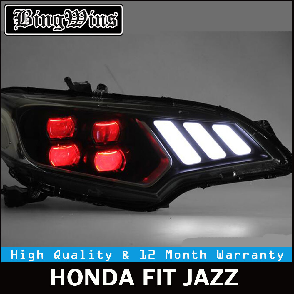 Car styling Auto Car Headlights 2014 2015 2016 2017 For Honda Fit Headlamp DRL Lens Double Beam of 4 LED Red LED Angle Eye Style hireno headlamp for 2016 hyundai elantra headlight assembly led drl angel lens double beam hid xenon 2pcs