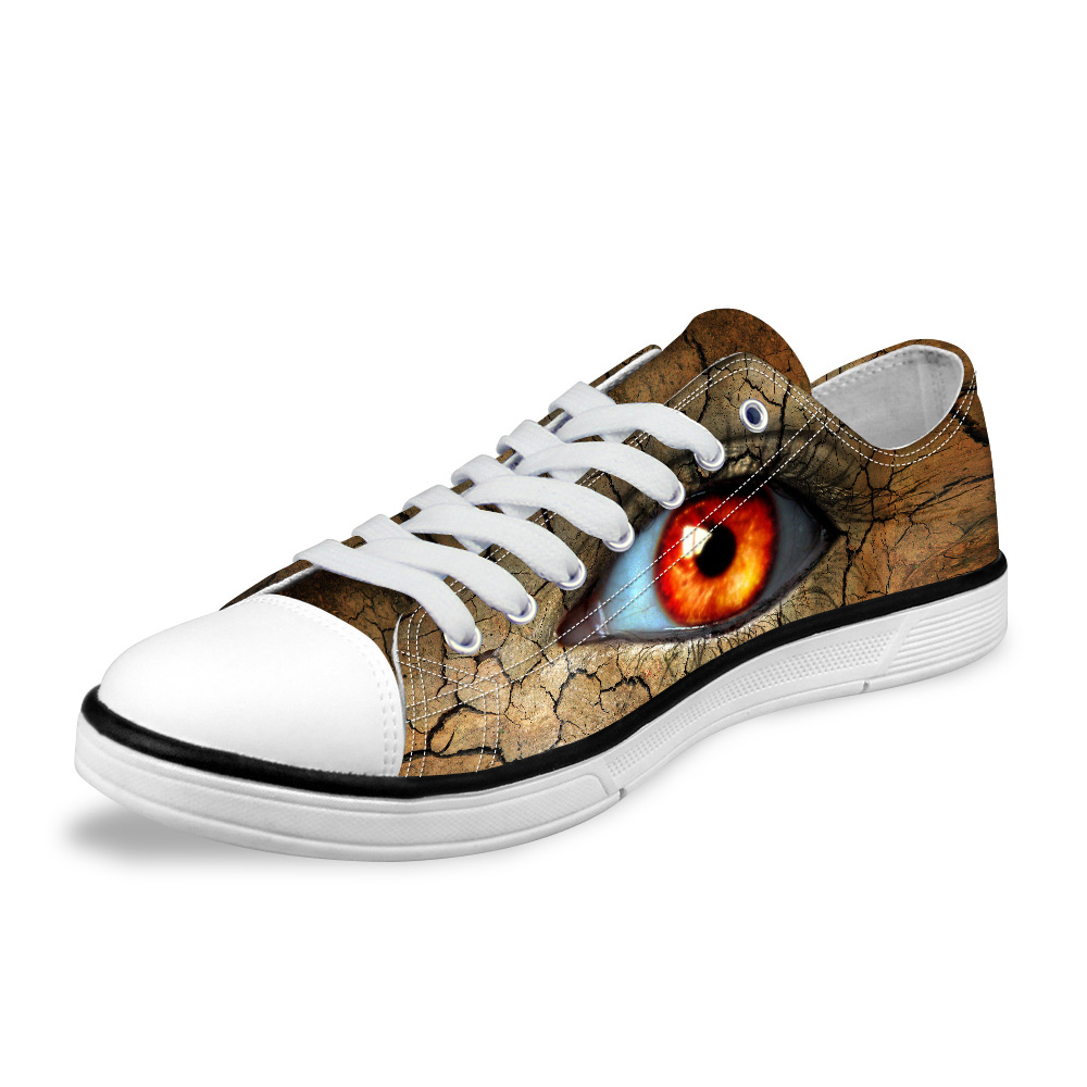 NOISYDESIGNS 3D Big Eyes Print Casual Canvas Shoes Men Fashion Vulcanize Shoes Classic Low Leisure Shoes for Man Student Zapatos