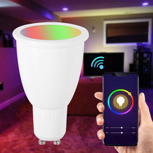 Get more info on the NEW WiFi Smart Light Bulb GU10/E27 RGBW 6W LED Dimmable Light Cup Compatible with Alexa&Google Home Remote Light Bulb