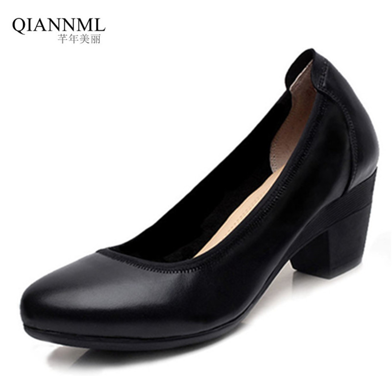 High Quality Genuine Leather Shoes for Women 2019 Platform Pumps OL Office Medium Heel Shoes Woman Black Square HeelsHigh Quality Genuine Leather Shoes for Women 2019 Platform Pumps OL Office Medium Heel Shoes Woman Black Square Heels