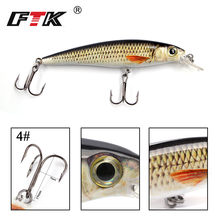 FTK Fishing Lure 1 pc Bass Lure 100mm/12g Floating Hook Accessories Sinking Wobblers Hard Lure 3D Eye Fishlike Slow Floater HF(China)