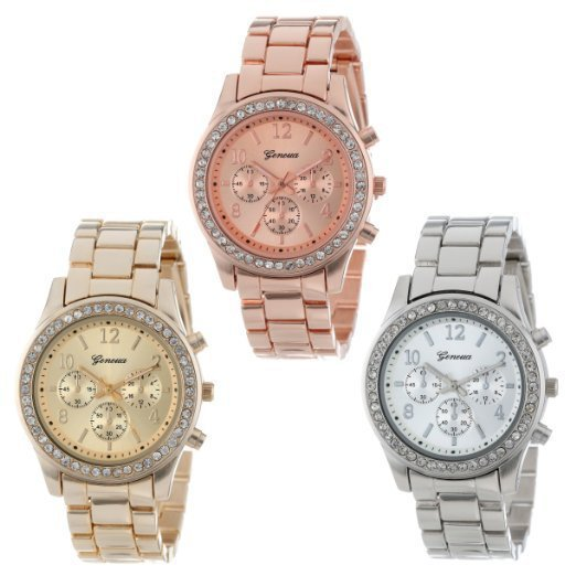Hot Sales Geneva Brand Gold&Silver Watch Women Ladies Fashion Crystal Dress Quar