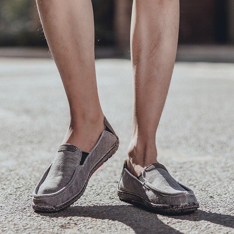 Été grande taille respirant chaussures paresseux décontracté une pédale hommes chaussures en toile plat