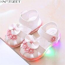 Xinfstreet/Детская летняя обувь для маленьких девочек; детские сандалии; мягкий дышащий светильник с бантом; детские сандалии для девочек; размеры 21-30