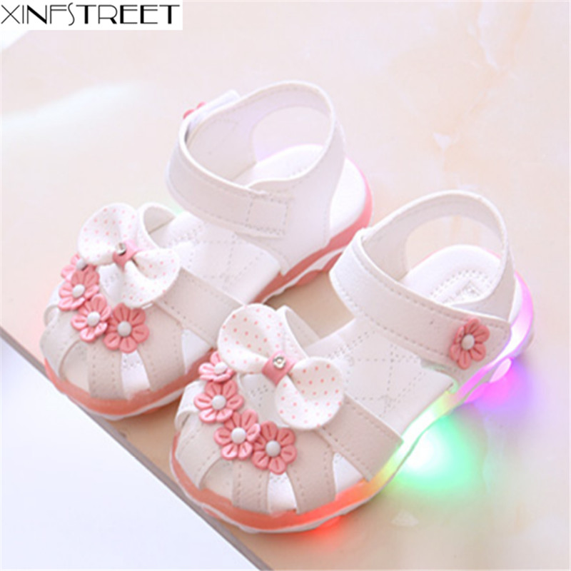 Xinfstreet Baby Toddler Girls Summer Shoes Children Sandals With Light Up Breathable Soft Bow Kids Girls Sandals Size 21-30