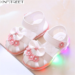 Xinfstreet Baby Toddler Girls Summer Shoes Children Sandals With Light Up Breathable Soft Bow Kids Girls Sandals Size 21-30(China)