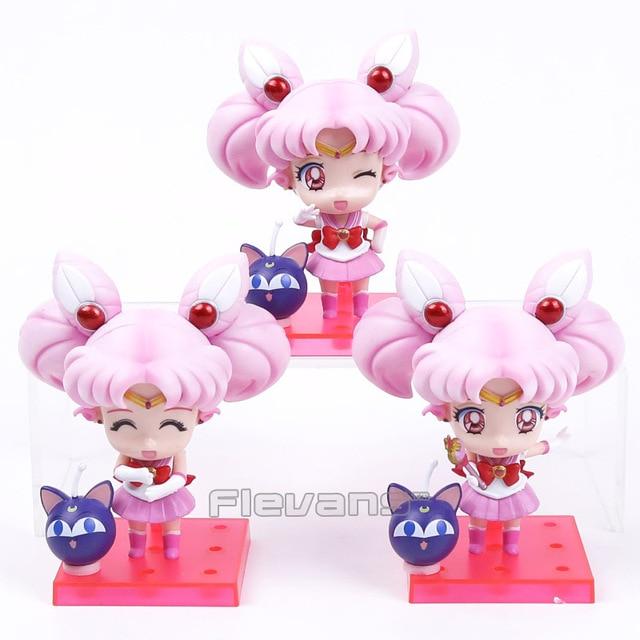Sailor Moon marinero chibimoon Chibi usa con Luna P PVC figuras coleccionables modelo Juguetes 3 unids/set 11 cm en Acción y Figuras de Juguete de ...