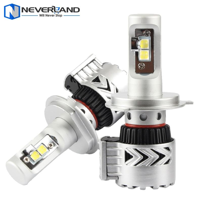 ФОТО 2pcs H4 High Low Dual Beam 72W 12000LM 6500K with CREE LED Chips Car Headlight Conversion Kit Fog Lamp Bulb DRL Super White