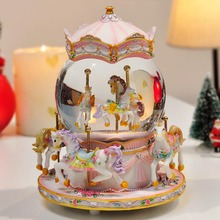 Crystal Ball Carousel Music Box Snowflakes and Merry-go-round Musical Boxes for Love Girl Creative Birthday Valentine's Day Gift