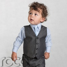 Boys Grey Waistcoat Suit, Baby Charcoal Suits, Wedding Page Boy