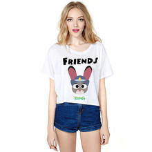 2016 Sale Hot Fashion Summer F1734 Women White Funny T Shirt The Best FRIENDS Zootopia Printed Female For Girl Top Tees