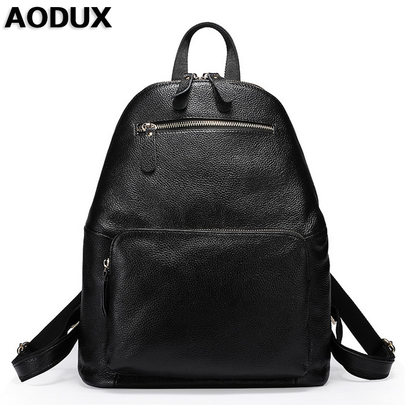 AODUX Genuine Leather Large Capacity Real Cowhide Women Backpack Top Layer Cow Leather Shoulder Bag Teenage Backpacks For Girls zency genuine leather backpacks female girls women backpack top layer cowhide school bag gray black pink purple black color