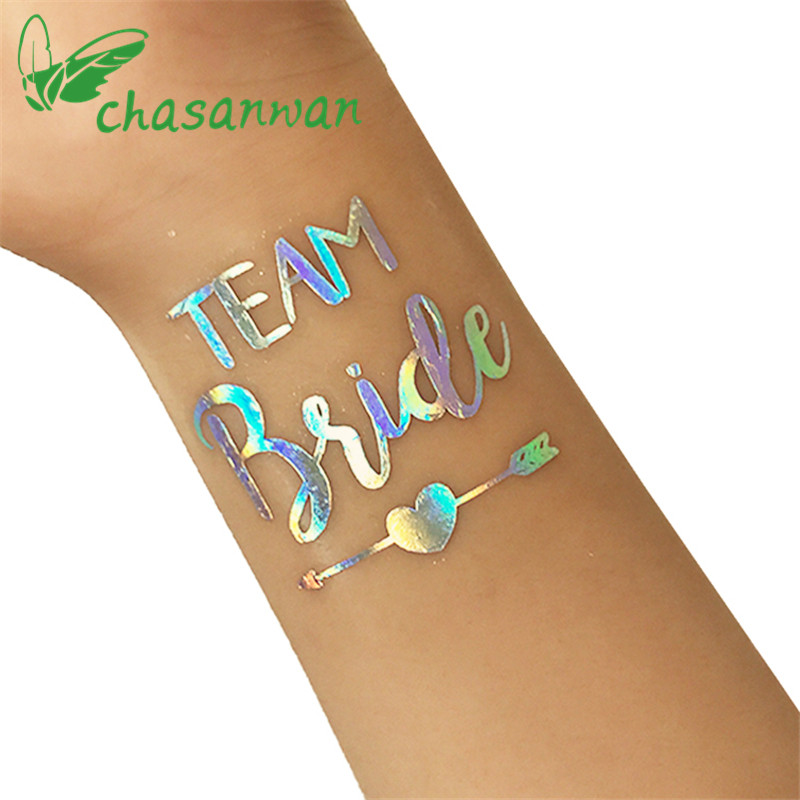 10pcs fashion rainbow silver flash team bride temporary for Tattoo party ideas