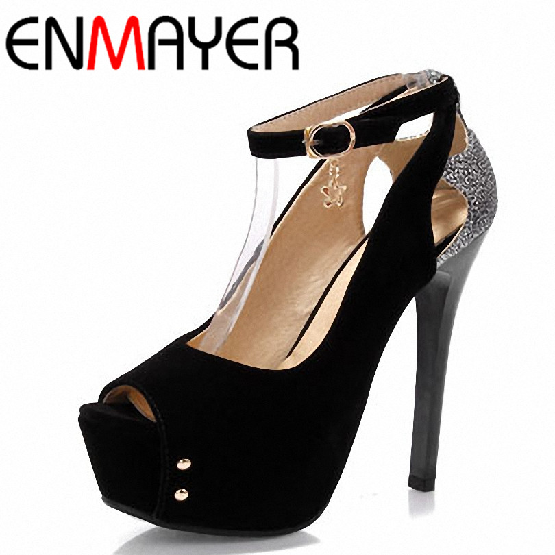 ENMAYER Big Size 34-43 Peep Toe Platform Sandals Fashion Women High Heels Summer Shoes New Ladies Wedding Pumps Shoes Women enmayer summer women fashion sandals pumps shoes rhinestone peep toe zip thin heels platform large size 34 43 black orange green