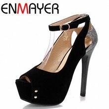 ENMAYER/Большие размеры 34–43 Босоножки на платформе с открытым носком Модные Женская Летняя обувь на высоком каблуке новые дамские свадебные туфли-лодочки женская обувь