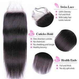 Image 3 - ISEE 髪ペルーストレートヘアの束でレミー人間の髪バンドルと閉鎖 3 バンドルと閉鎖自然の色