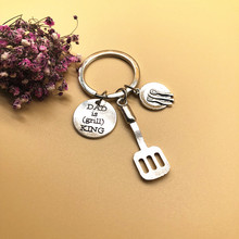 2019 New Style Ancient Silver Dad Is Grill King Plate Tableware Pendant Creative Fathers Day Gift Chef Keychain Keyring Jewelr