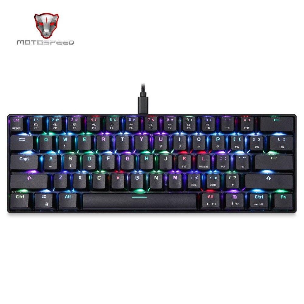 Оригинал Motospeed CK61 Проводная Механическая клавиатура светодио дный подсветкой 61 Ключи USB 2,0 anti-ореолы Gaming Keyboard для настольных ПК