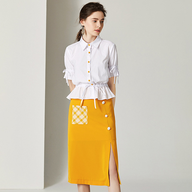 Set Women Suits Two Pieces Set Cotton+Polyester Fabric Half Sleeves Patchwork Pockets Mid-calf Skirt New Fashion Style 2019