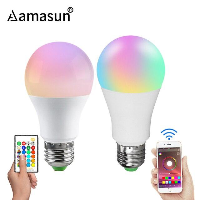 Rgbw rgbww sem fio luz noturna rgb lâmpada 15w 10 5w AC85 265V inteligente lâmpada/luz bluetooth app ou ir controle remoto noite lâmpada