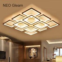 NEO Gleam Rectángulo llevados Modernos luces de araña de techo para la sala de estar dormitorio AC85-265V Square chandelier fixtures