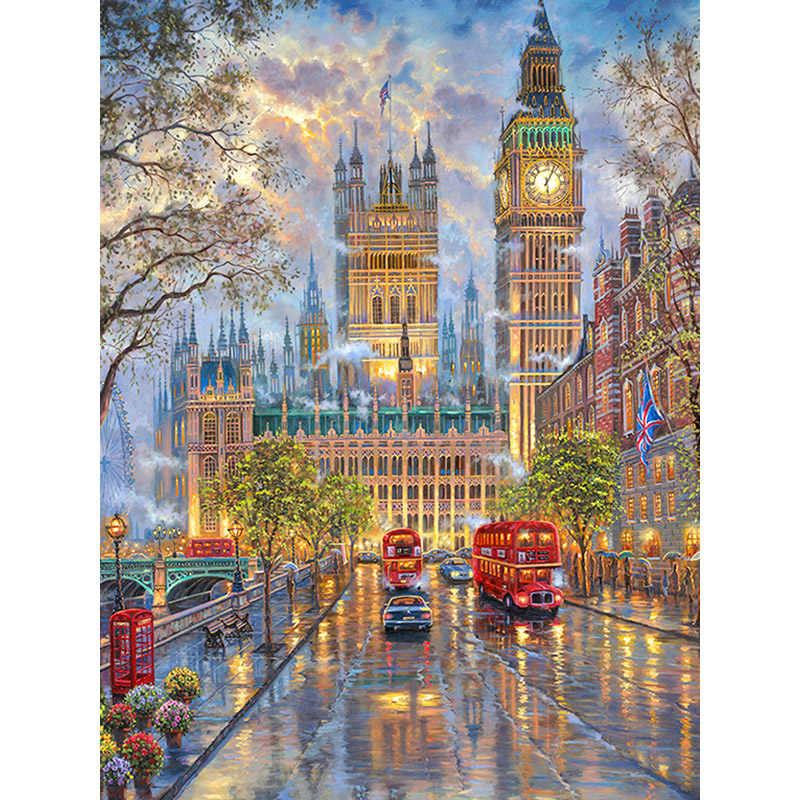 "100% Full 5D Diy Daimond Painting ""London Street View"" 3D Diamond Painting Round Rhinestones Diamant Painting Embroidery Scenery"
